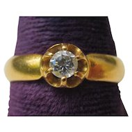 22K Gold Victorian Claw Set Diamond Solitaire Ring