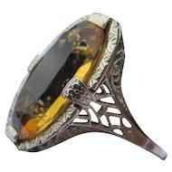 14k White Gold Engraved Edwardian Citrine Ring