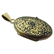 Antique 14k Gold Fine Enamel Locket