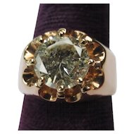Vintage 14k Rose Gold Mens 2.12 ct Diamond Solitaire Ring