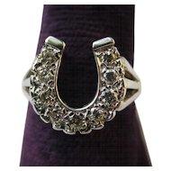 14K Gold Vintage Lucky Horseshoe Diamond Ring