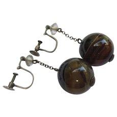 Edwardian Sterling Silver Rock Quartz & Banded Scottish Agate Earrings