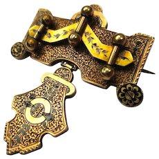 Taille d'Epargne Enamel Engraved 14k Gold Victorian Etruscan Revival Brooch
