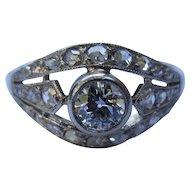 Beautiful Edwardian Platinum & Diamond Engagement Ring (Rose Cut and Old European Cut)