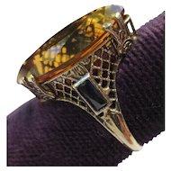 Antique 10k White Gold Citrine & Sapphire Filigree Ring