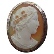 Fine 14k Gold Edwardian Cameo Engraved Shell Brooch