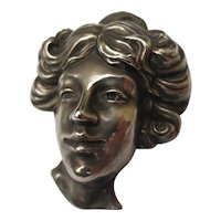 Antique Sterling Silver Gibson Girl Art Nouveau Brooch