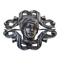 Art Nouveau Sterling Silver Repousse Antique Brooch