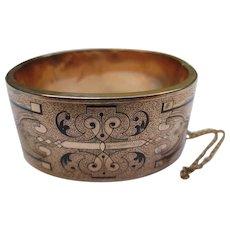 Victorian 14k Gold Taille d'Epargne Enamel Antique Cuff Bracelet