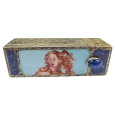 "Vintage 1920's Italian Silver and Enamel Lipstick Case Holder ""Birth Of Venus"""
