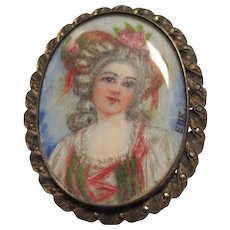Miniature Portrait Painting Vintage Sterling Silver Brooch