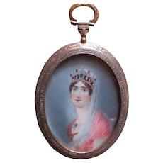 Beautiful Antique Miniature portrait Painting Empress Josephine Signed Dupre