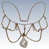 Lovely Edwardian 14k gold Pearl & Diamond Festoon wedding necklace collar