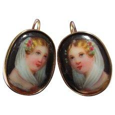 Lovely 14k Gold Enamel Portrait Painting Antique Earrings