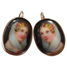 Lovely 14k Gold Enamel Portrait Painting Antique Earrings