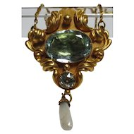 Beautiful Victorian 14k gold Aquamarine & Pearl Lavalier Necklace