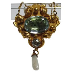 Beautiful Victorian 14k gold Aquamarine & Pearl Lavalier Necklace