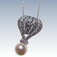 Wonderful Vintage 14k White Gold Diamond & Pearl Hot Air Balloon Pendant