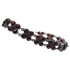 Silver Edwardian Rose Cut Bohemian Garnet Clover Bracelet