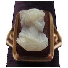 Antique 14k Gold Victorian Hardstone Cameo Ring