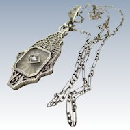 Art Deco Camphor Glass 14k White gold Pendant & Chain