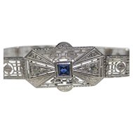 Wonderful Art Deco Platinum on 14k White gold Sapphire & Diamond bracelet