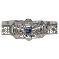 Wonderful Art Deco Platinum on 14k White gold Sapphire & Diamond bracelet