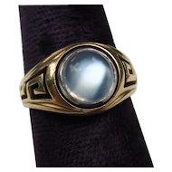 Classic Greek Key 14k Gold Fine Vintage Moonstone Ring