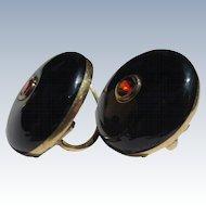 Classic Antique Black Enamel Garnet 14k gold earrings