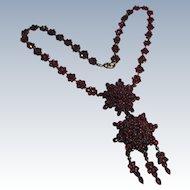 Victorian Bohemian Rose Cut Garnet Silver necklace