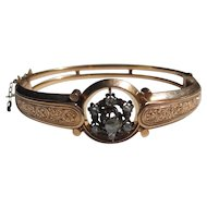Antique Etruscan Revival Victorian 14k Gold Rose Cut Diamond Bracelet