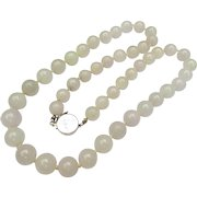 Fine Vintage Jade Bead Necklace & 14k White Gold Clasp
