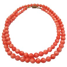 Vintage Angel Skin Coral Necklace Beaded Strand