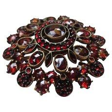 Lovely Victorian Bohemian Rose Cut Garnet Gold Vermeil Brooch