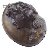 Antique Victorian Bog Oak Lady Cameo Locket