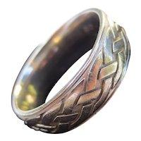 Vintage 14k White Gold Braided Rope Mens Wedding Band Ring