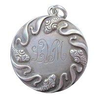 Antique Art Nouveau Sterling Silver Snake Locket