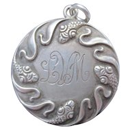 Antique Art Nouveau Sterling Silver Snake Locket