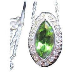 Fine Peridot & Diamond 14 white Gold Pendant and Chain