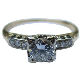 Vintage 14k & 18k Gold Diamond Engagement Ring