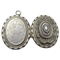Lovely Edwardian Silver Locket Pendant for Book Chain Necklace