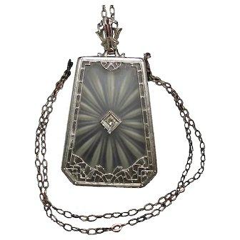 Art Deco 14k White Gold Camphor Glass & Diamond Pendant