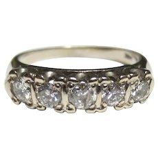 Mid Century Vintage 14k White Gold Diamond Row Ring