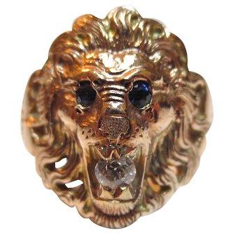 14k Gold Diamond & Sapphire Roaring Lion Head Vintage Ring
