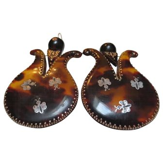 Exceptional Large Pique Victorian Gold & Silver Lyre Butterfly Earrings