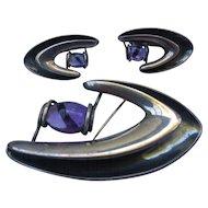 Sigi Pineda Sterling Silver Modernist Movement Mexican Taxco Amethyst brooch & earrings