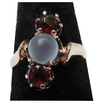 Victorian 14k Gold Moonstone & Bohemian Garnet Ring
