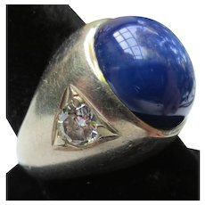 14k Synthetic Star Sapphire, Diamond, Moissanite Vintage Ring