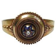 Antique Enamel & Pearl Etruscan Revival 14k Gold Victorian Bracelet