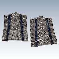 Wonderful Platinum Diamond and Sapphire Art Deco Earrings